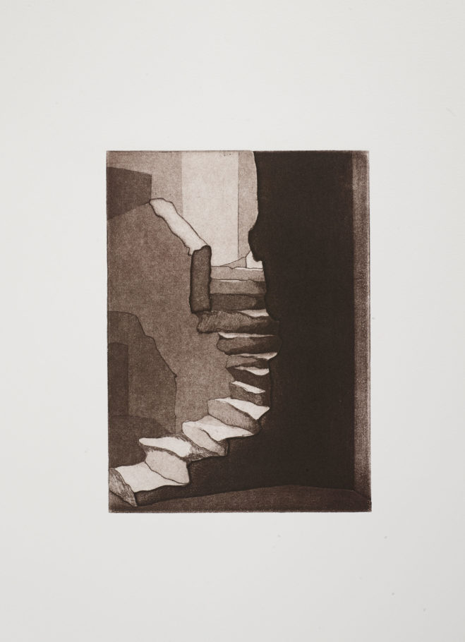 STEPPING UP . IMAGE SIZE 22.5X16.5CM ETCHING . EDITION 15 . £225 U/F